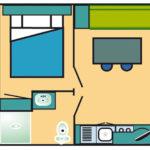Plan Location mobil-home 1 chambre dans les Landes