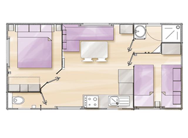 Plan Mobilhome 2 chambres